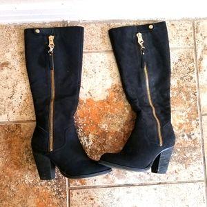 Aldo black leather boots size 6.